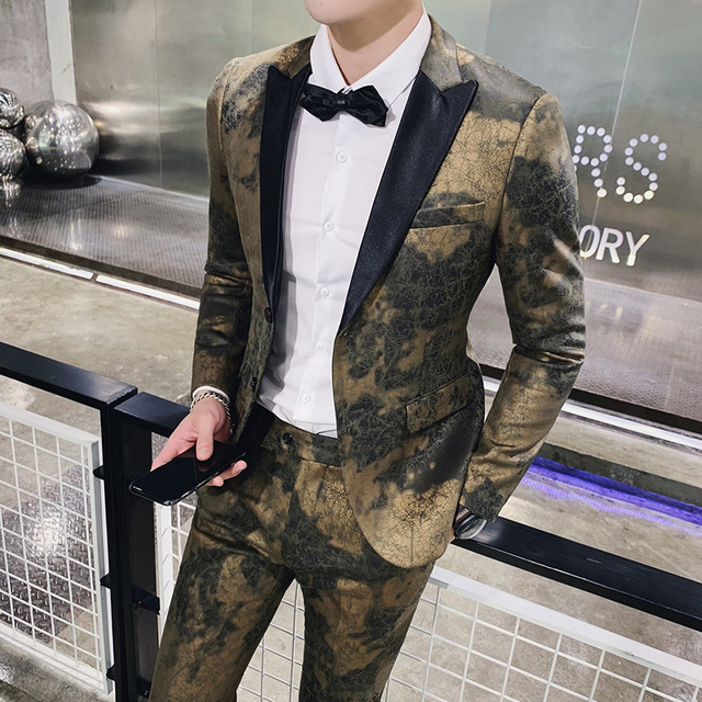 Faux Leather Mens Suits Gold 2 Piece Suits Mens Stage Suits Slim Fit Party Dress Stage Clothes for Singers Club Outfits Prom