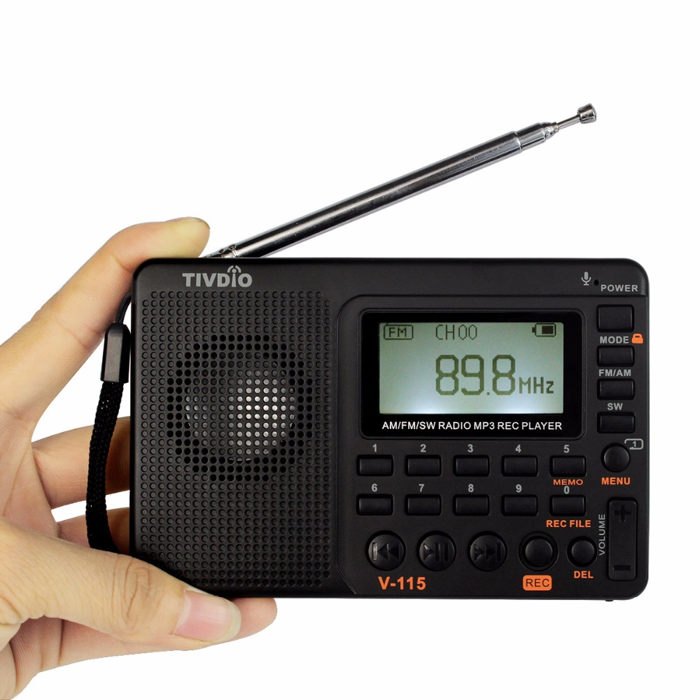 TIVDIO V-115 Radio AM FM SW Pocket Radio Receiver Shortwave Transistor Receiver TF Card USB REC Recorder FM Tuner Work F9205A portable fm am sw radio multiband radio receiver bass sound mp3 player rec recorder portatil radio with sleep timer f9205a