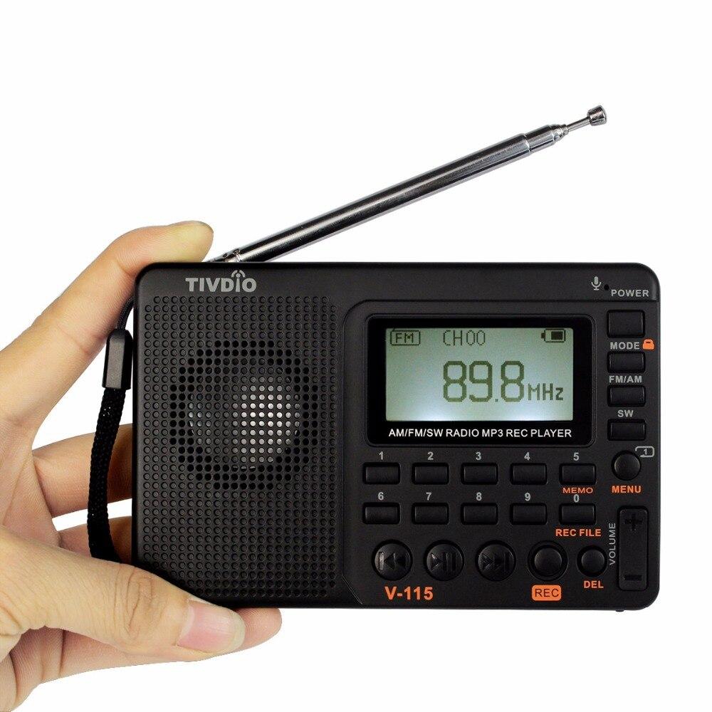 TIVDIO V-115 Radio AM FM SW Radio De Poche Récepteur Ondes Courtes Transistor Récepteur TF Carte USB REC Enregistreur FM Tuner Travail f9205A