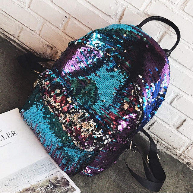 Fashion Sequins Women Leather Shiny Backpack Bling Female Mochila Girls Glitter School Bags Shine Shoulder Bag Paillette Bookbag