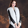 Free shipping Lady Fashion Women Genuine Fox fur Waistcoat short Style Newest Hot selling Natural Blue Fox fur vest gilet