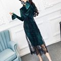 Fashion Women 2 PCS Dress Flare Pearls Sleeve Bodycon Dress and Lace V Neck Tank Female Twinset Trendy 2017 New Clothings