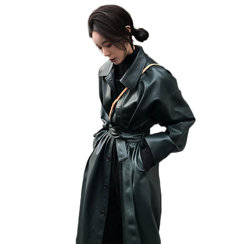 WSYORE מגניב עור ארוך מעיל 2020 חדש אביב נשים רופף חגורת עור מפוצל מעיל רוח תעלת מעיל דק סתיו מעיל NS939