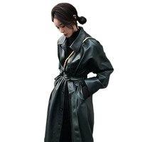 WSYORE Cool Leather Long Jacket 2019 New Spring Women Loose Belt PU Leather Windbreaker Trench Coat Slim Autumn Jacket NS939