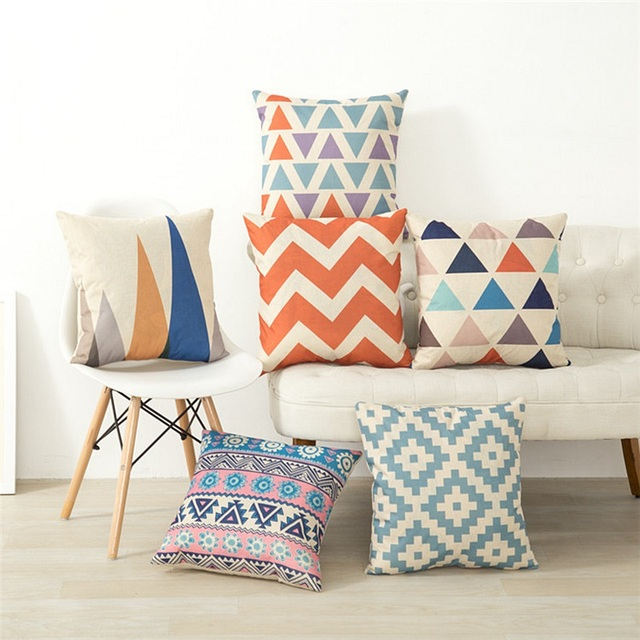 Colored Geometric Patterns Decorative Pillow Covers