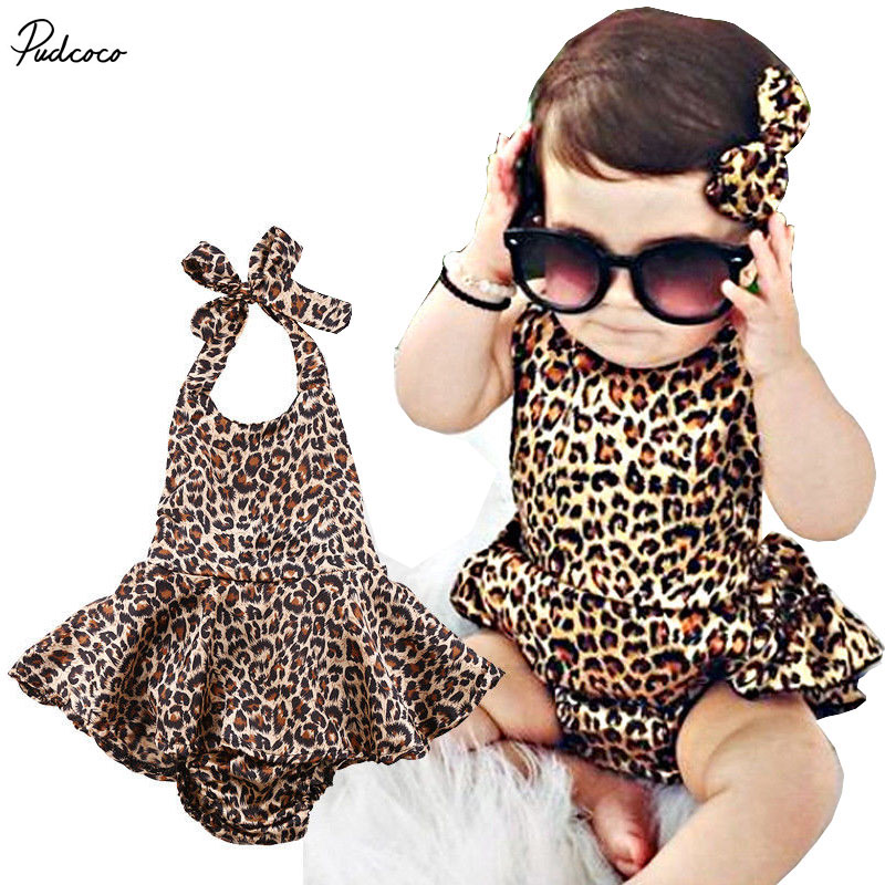 2017 Newborn Baby Girls Clothes Fashion Kids Toddler Girl Leopard dress Bodysuit Backless Summer Infant Bebes Outfit Sunsuit fashion 2pcs set newborn baby girls jumpsuit toddler girls flower pattern outfit clothes romper bodysuit pants