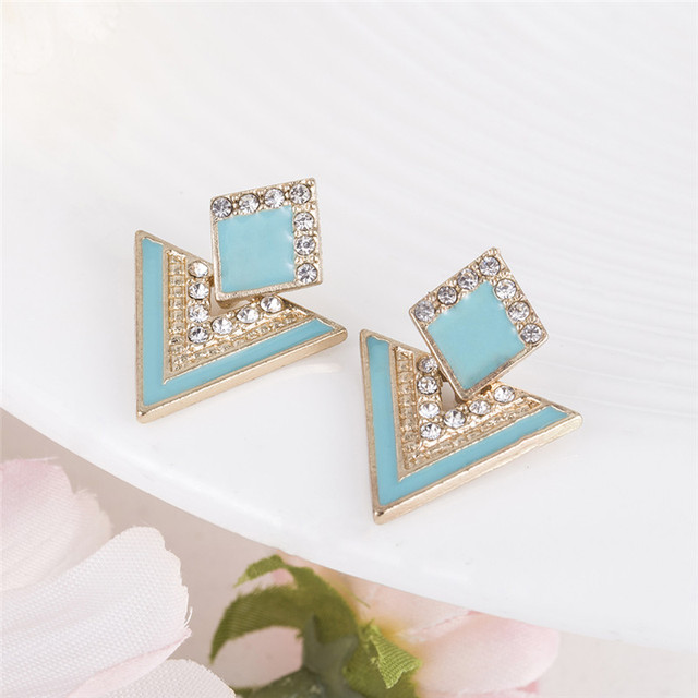 Hot Sale Brincos Colorful Enamel Rhinestone Party Earring Geometric Drop Triangle Earrings for Women Fashion Accessories Jewelry 3