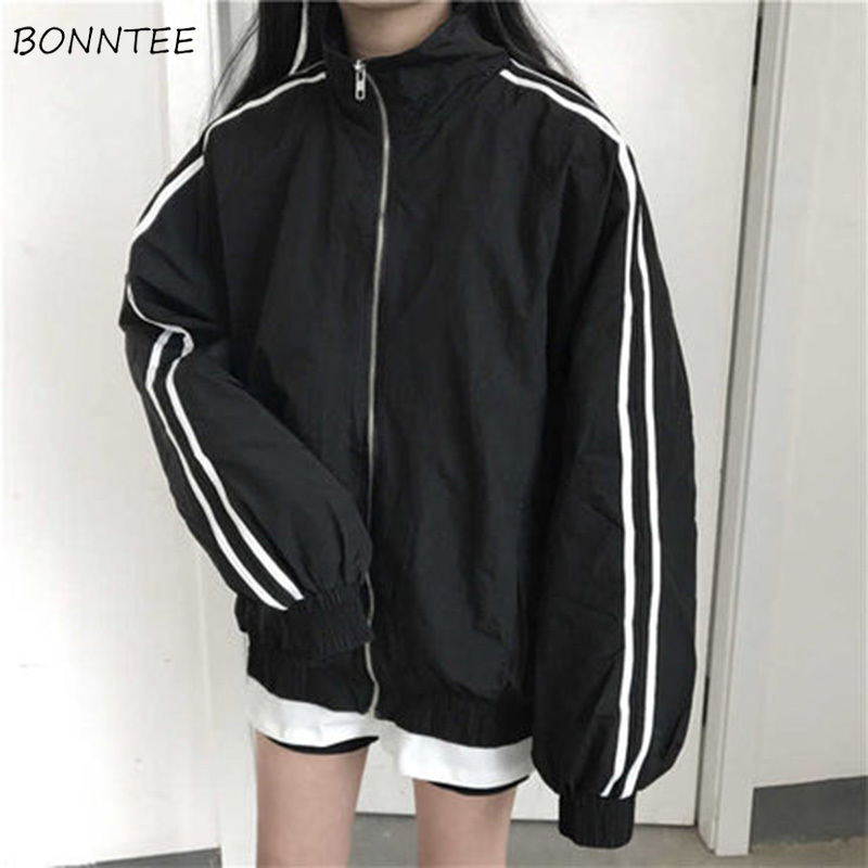 Jackets Women Casual Long Sleeve Striped Stand Collar Zipper Thick Womens Basic Jacket Korean Harajuku Style Ulzzang Pockets