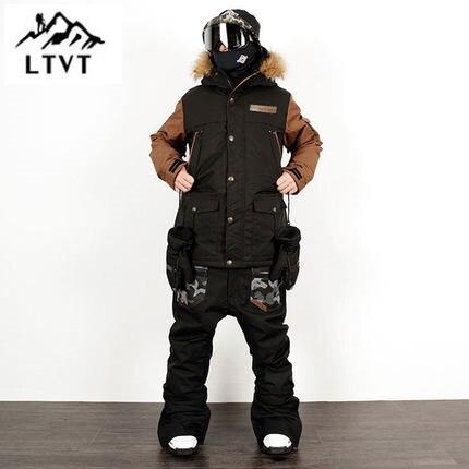 LTVT Men Women Ski Suit Veneer Double Snowboard Clothes Suit Waterproof Slim Quilted Korean Version New Style Female Ski Suit