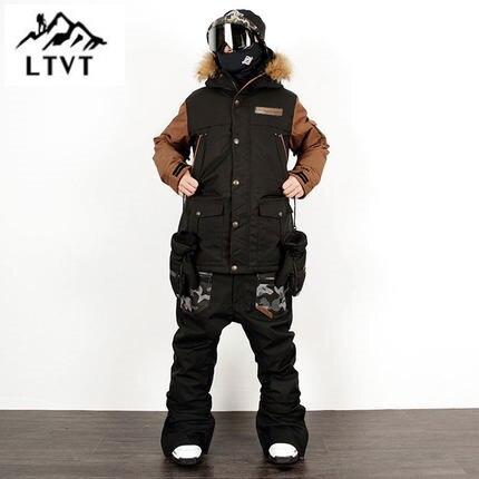 LTVT мужской женский лыжный костюм шпон двойной сноуборд одежда костюм водонепроницаемый тонкий стеганый корейский вариант Новый стиль женский лыжный костюм