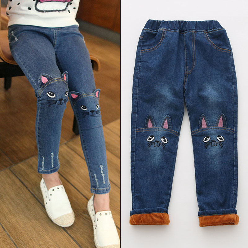 все цены на Winter Girls Jeans Thicken Girls Warm Kids Trousers Elastic Waist Demin For Girl Leggings Fashion Cartoon Cat Girls Jeans Pants