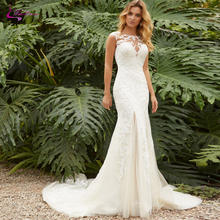 Waulizane Sexy Back Mermaid Wedding Dresses Button Closure With Cap Sleeve Tulle Court Train Bridal Dress