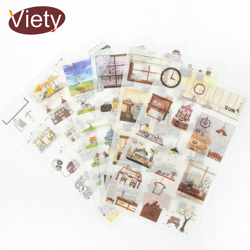 6 Sheet/Bag Vintage life Products decoration paper sticker DIY diary decoration sticker for planner album scrapbooking6 Sheet/Bag Vintage life Products decoration paper sticker DIY diary decoration sticker for planner album scrapbooking