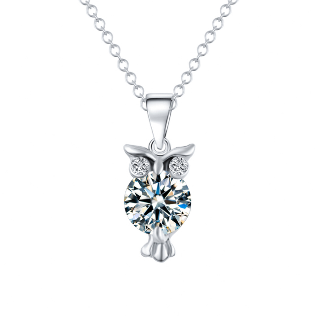 2019 New Zircon Pendants Owl Necklace For Women Crystal Heart Gold Sliver Color Long Necklaces Fashion Jewelry Christmas Gift 3