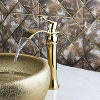 Best Basin Faucets Torneira Luxury Golden Waterafall Bathroom Brass Deck Mounted 97135 Single Handle Sink Faucets