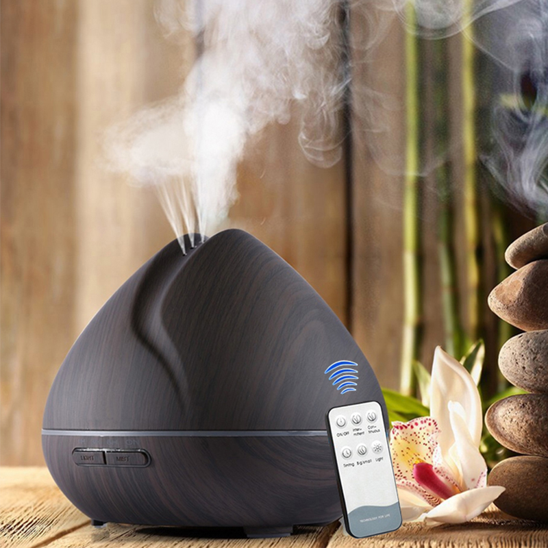 550ML Air Humidifier Ultrasonic Aromatherapy Essential Oil Diffuser With Wood Grain 7 Changing Color LED Lights For Home Office brand new portable led lights wood grain expansion machine negative ion oil diffuser humidifier aromatherapy machine for home