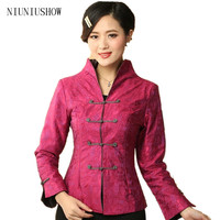 Promotion Chaude Rose Dame Lin Coton Manteaux Style Chinois Top Mandarin col Costume Tang Costume Taille S M L XL XXL XXXL T019