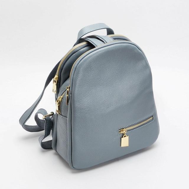 9c2db06cceb1 Гарантировано 100% натуральная кожа Для женщин рюкзак синий мульти карман  высокое качество из натуральной кожи