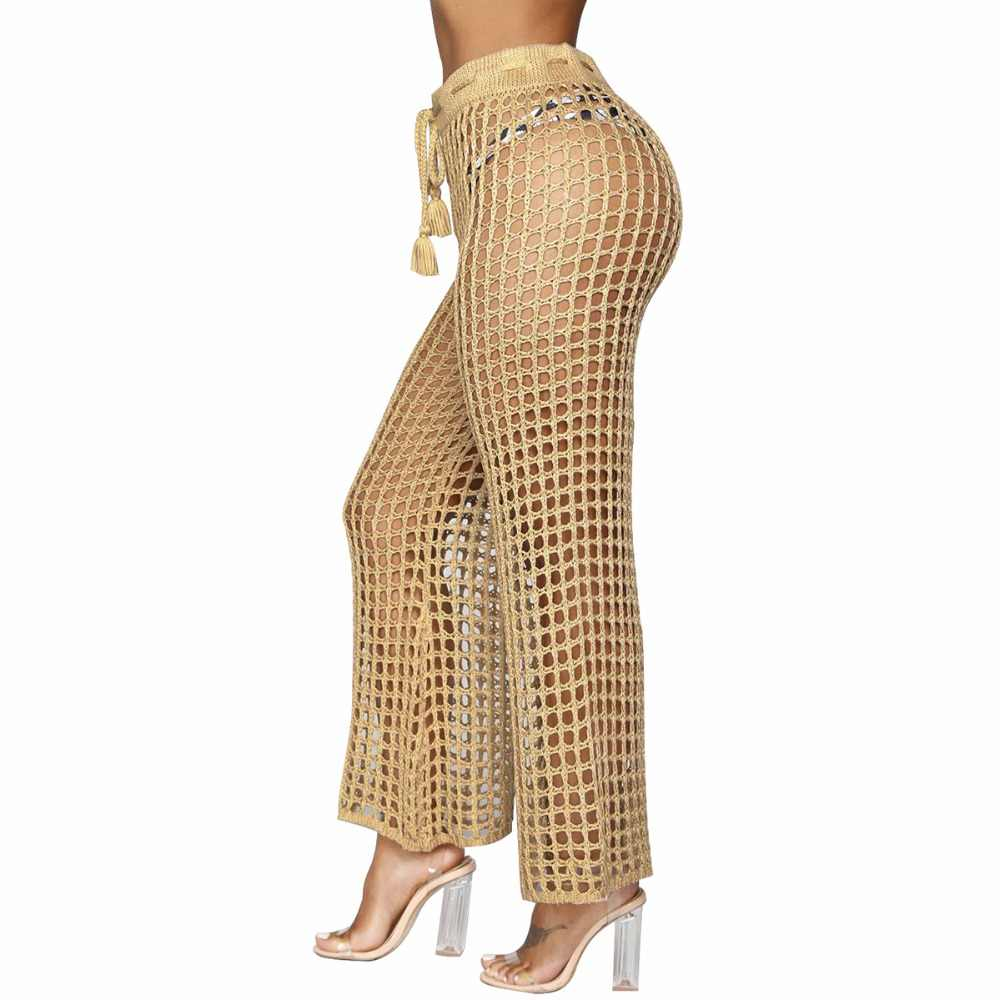 7e6727c1e7a Summer Drawstring Knit Long Pants Sexy Hollow Out See Through Perspective  Loose Fishnet Trousers Casual Lace Up Bandage Pants