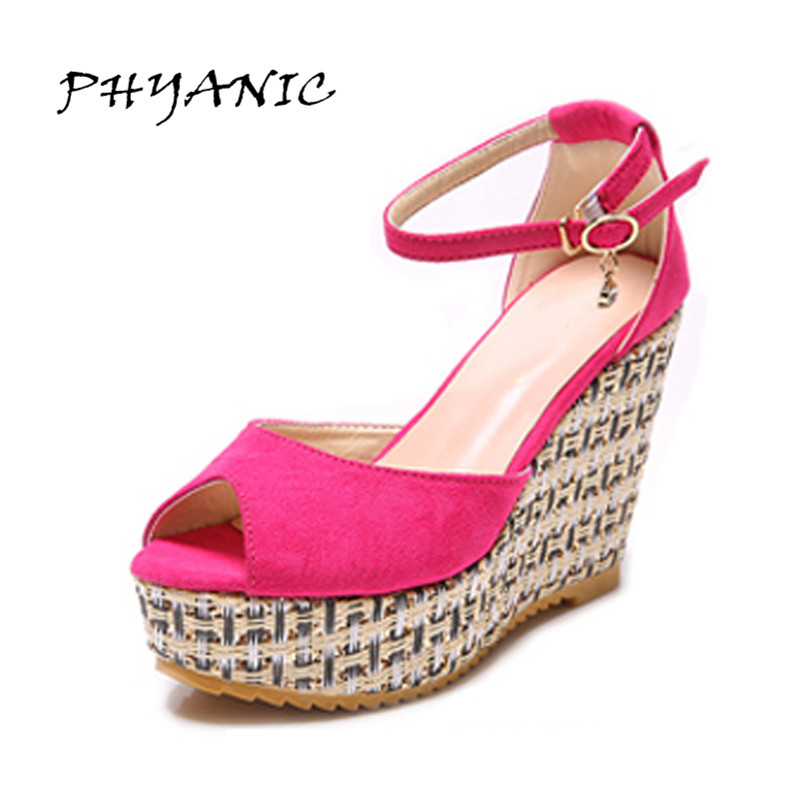 PHYANIC New Fashion Summer Wedges Sandals Female Platform Shoes Belt Buckle Open Toe High-heeled Party Shoes Black Wholesale phyanic gold silver wedges sandals 2017 new platform casual shoes woman summer buckle creepers bling flats shoes phy4040