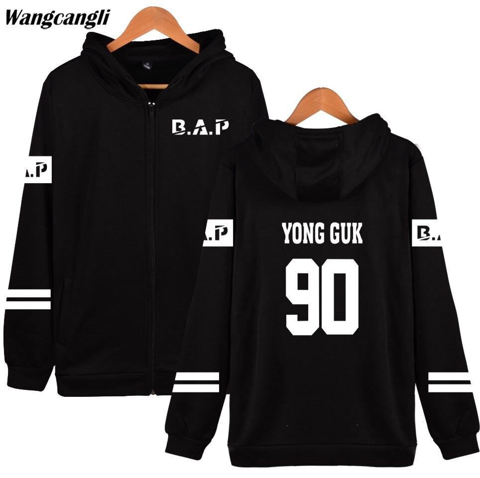 2018 B.A.P Popular Groups Kpop Hoodie Men/Women Hoodies Zipper Popular Hip Hop Winter Sweatshirt Cotton Casual Jacket Coat