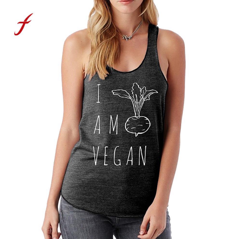 Women Sleeveless Workout Top T Shirt Female Girls I Am Vegan Letter Pullover Clothes