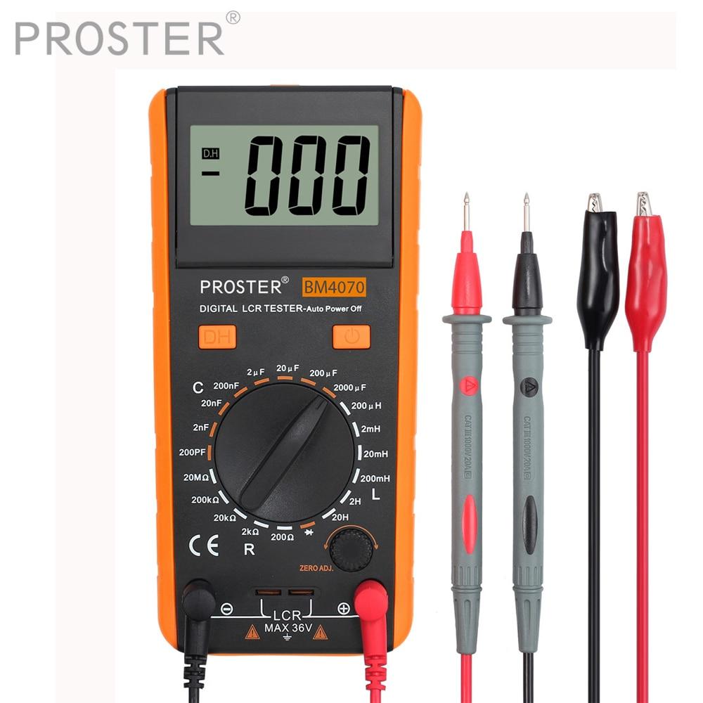 Proster LCR Mètre Avec Dépassement D'affichage Capacité Inductance Résistance Multimètre Auto-décharge Testeur De Mesure Mètre