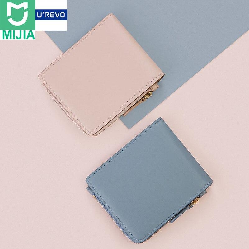 Original Xiaomi UREVO Fashion Short Leather Zipper Wallets Full Genuine Soft Purse Snap Fastener Women Wallets