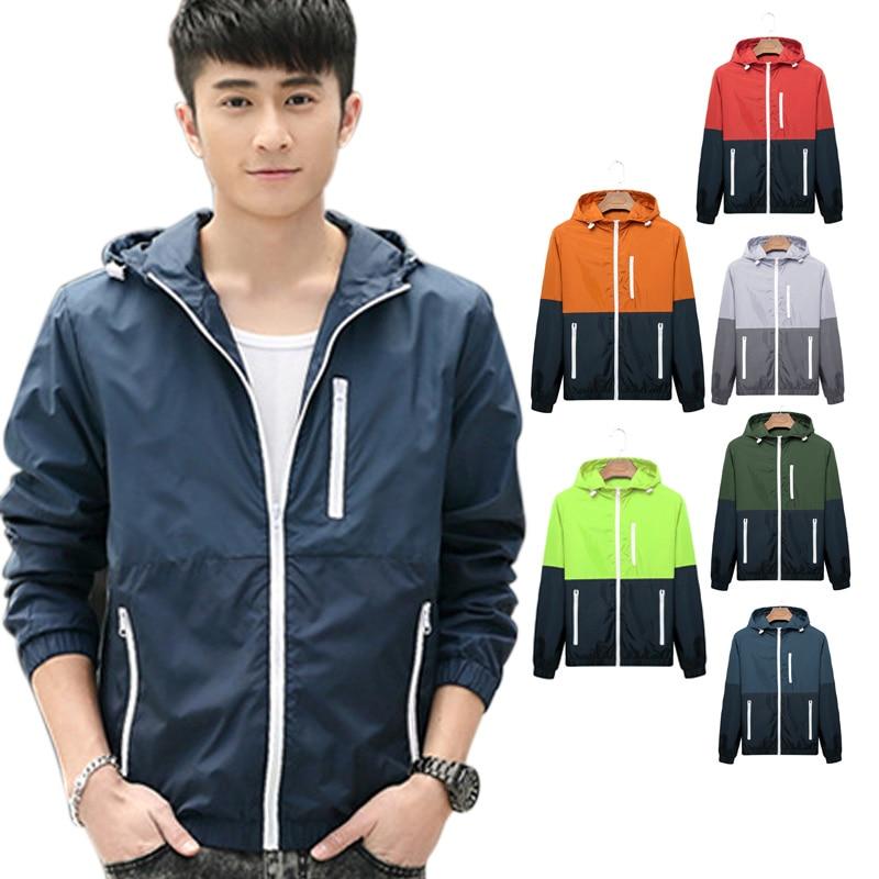 2017 New Fashion Men Jacket Coat Causal Hooded Jackets Thin Windbreaker Zipper Up Outwear Tops Plus Size Jackets Men