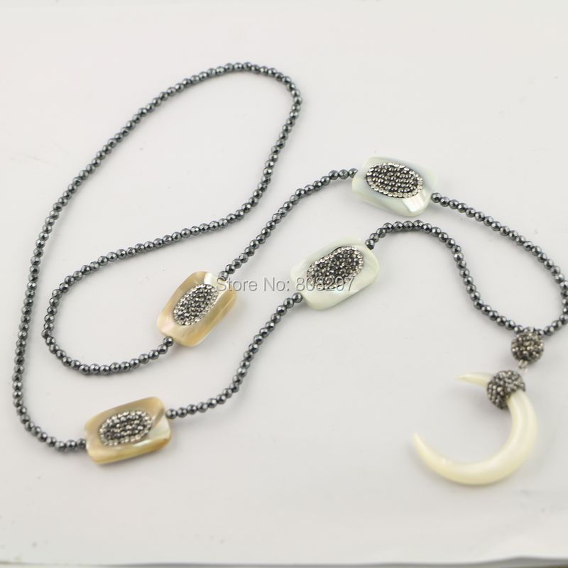 3 Strands Pave Rhinestone Shell Gem stone Necklace with 3mm Mini Black Hematite Beads and Crescent