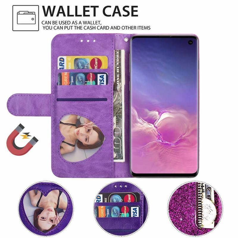 Bling Glitter Case For Samsung Galaxy S10e Note 8 9 S10 Plus S9 S8 Plus S7 Bling Glitter Case For Samsung Galaxy S10e Note 8 9 S10 Plus S9 S8 Plus S7 Edge S6 Leather Flip Stand Zipper Wallet Cover Coque