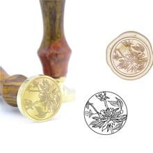 Узор с цветком лотоса воск печать штамп B48 индивидуальный восковой штамповки букв для ювелирных изделий штамп деревянная ручка DIY древняя печать ретро штамп
