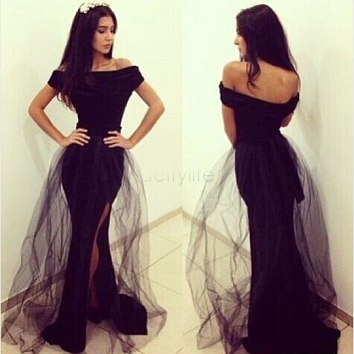 Fashion Elegant Black Long Party Dress Black Formal Fishtail Mermaid Prom Gown Women Backless Dresses Vestidos De  In Dresses From Womens Clothing On