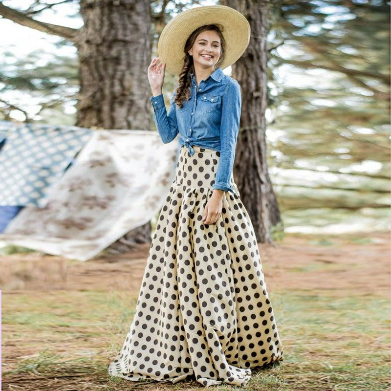 Buy Country Style Cowboy Dot Taffeta Skirts For Fashion Girls A Line Maxi High