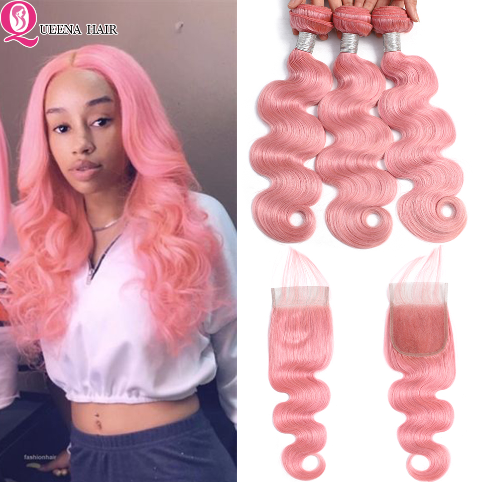 Queena Pink Bundles With Closure Body Wave Colored Brazilian Human Hair Weave Bundles With 4X4 Lace Closure Remy Hair Extensions
