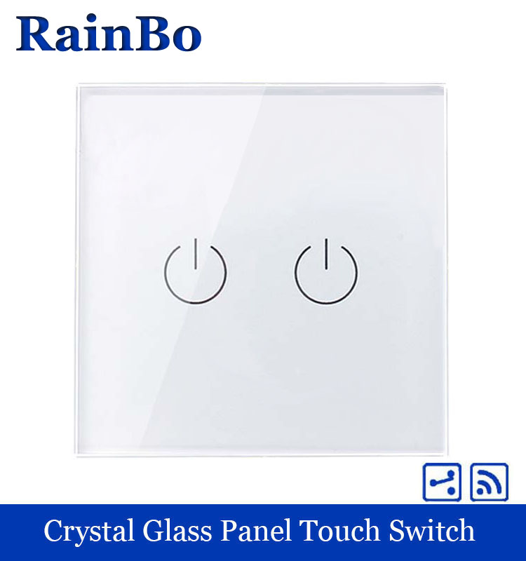 rainbo Touch Switch Screen Crystal Glass Panel wall light switch EU 110~250V Remote Wall Light Switch 2gang2way A1924W/B 2017 free shipping smart wall switch crystal glass panel switch us 2 gang remote control touch switch wall light switch for led
