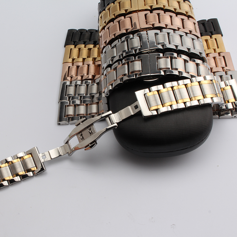 14mm 16mm 18mm 19mm 20mm 21mm Black Silver Gold Rose Gold Stainless Steel Strap Bracelets Watch Band solid links fashion clasp