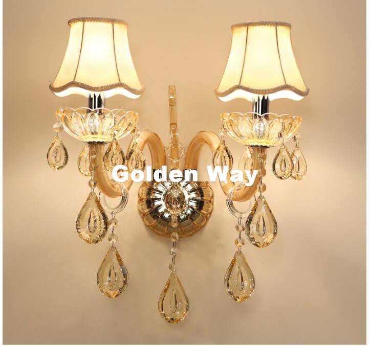 Free Shipping European Design LED Champagne Clear K9 Crystal Wall Lamps Bedroom Headboard Bedside Lamp Wall Sconce Light Fixture стоимость