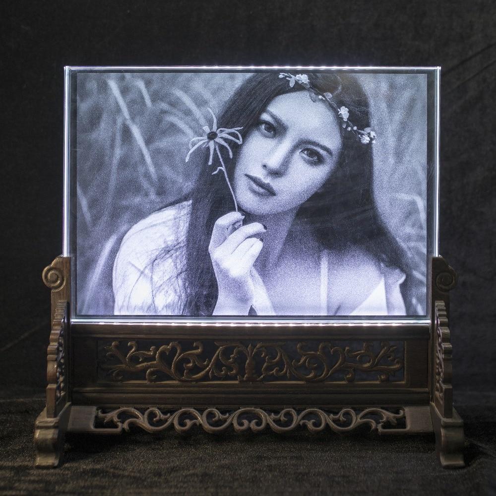 Cadre Photo en cristal Rectangle verre personnalisé 3D Laser gravé cadre Photo bricolage Album Photo de famille de mariage pour cadeaux