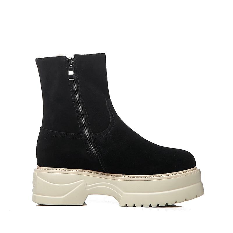 Runde Plush Stiefeletten Zip Wetkiss Flache Schnee Winter Boot Weiblichen Kappe Frau Wildleder 2018 Black Kuh Thick Casual Sohle Plattform Schuhe Frauen qIxXrXtR