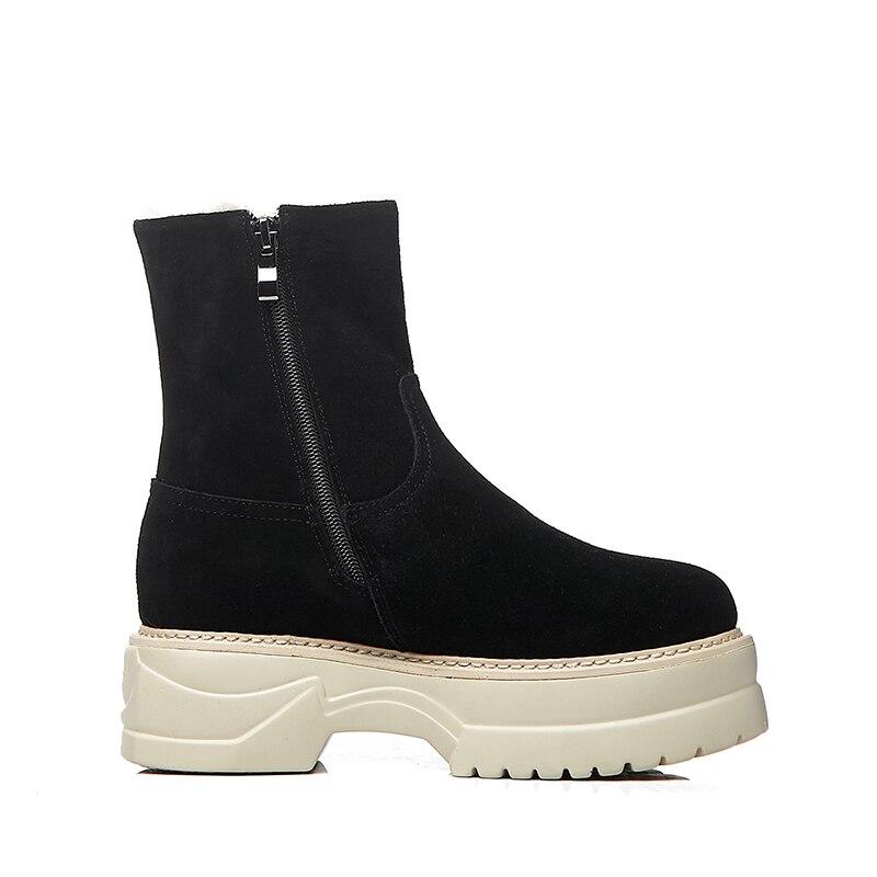 Vache En 2018 Thick Plate Femelle D'hiver Bottes Semelle Plate Chaussures De Femme Occasionnelles forme Wetkiss Neige Zip Bout Daim Plush Cheville Rond Botte Black Femmes Yf7y6gb