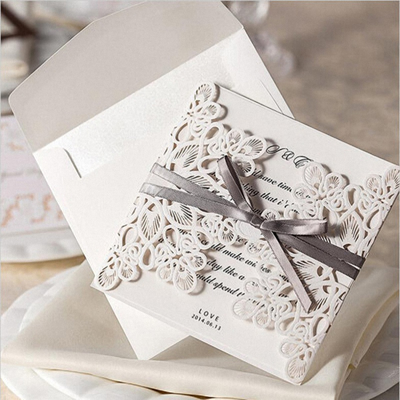 10PCS Personalize Gorgeous Embossed Paper Laser Cut Wedding