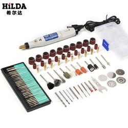 HILDA 18 220v 彫刻ペンミニドリルロータリーツール研削アクセサリーセット多機能ミニ彫刻ペンドレメルツール