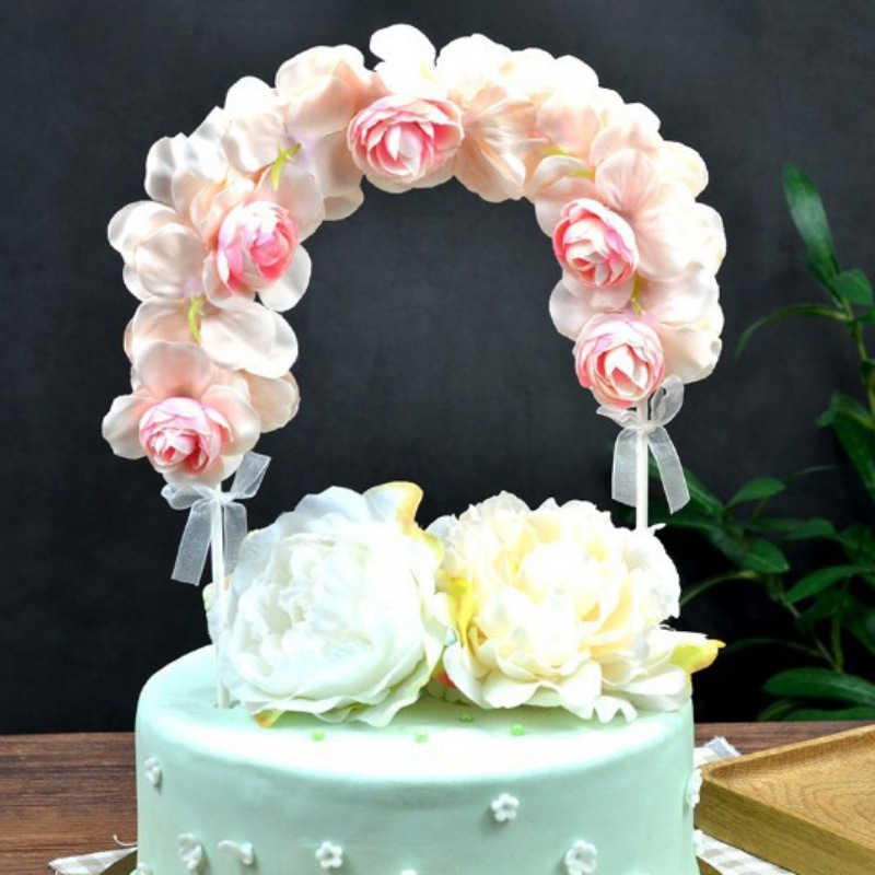 Romantic Artificial Flower Arch Diy Cake Topper Decorative Ornaments For Anniversary Birthday Party Wedding Valentine S Day Hot Cake Decorating Supplies Aliexpress