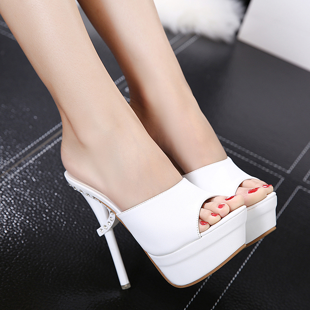 2017 Summer Women's Shoes Stiletto Heels Diamond High-heeled Slippers Sexy Wild Black Platform Slip On Sandals