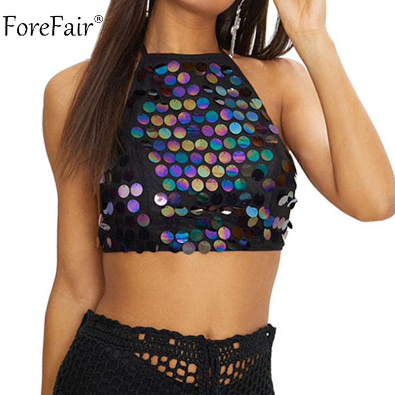 Detail Feedback Questions about Forefair Halter Sexy Backless Black Club  Camis Summer Sleeveless Party Metallic White Tank Tops Women Sequined  Cropped Tops ... 1ba1093e20a8