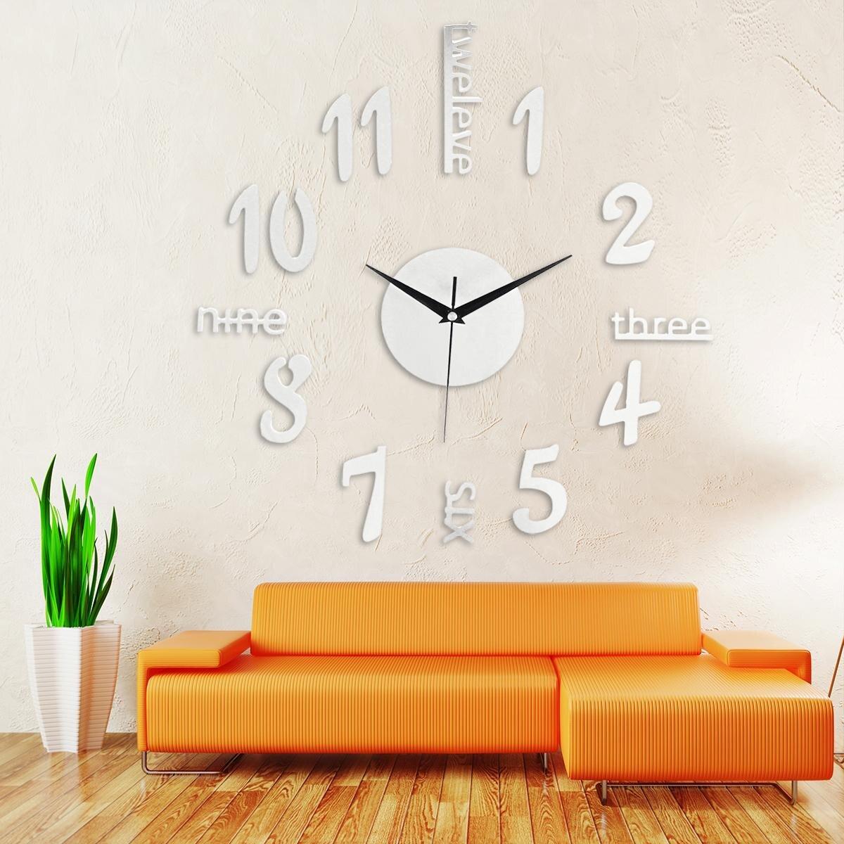 Kleine DIY Moderne 3D Dekorative Spiegel Acryl Wanduhr Dekoration Wohnzimmer  Aufkleber Uhr Uhren Decor Schwarz/gold/ Silber