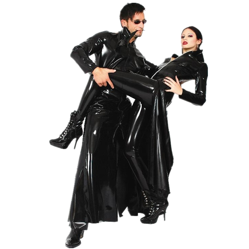Ұзын қызыл / қара PVC көкірекше Gothic Style Пальто матрицасы Trinity костюмі Shiny Latex Unisex Fancy көйлек Әнші Sexy костюмдер S-XXL