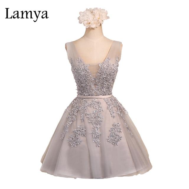 Lamya Sexy V ausschnitt Spitze Brautjungfer Kleid Tüll Ballkleid ...