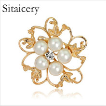 Sitaicery Pearl Brooch Rhinestone Crystal 8 Colors Flower Brooch For Women Men Wedding Bridal Party Round Bouquet Brooch Pin